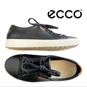 ECCO Soft 7 Black Leather Lace Up Sneaker - Size 4